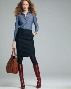 denim blouse , black pencil skirt