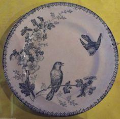 Ancienne Assiette Céramique DE Longwy Plate Mésanges Fleurs | eBay