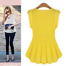 мода odema 2014 небольшой жилет женщин сексуальный полых тела кружева рукавов блузки шифона с желтой рубашке/м/л/xl, принадлежащий категории...