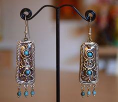 Orecchini pendenti vintage afghani kuchi in argentone con turchese lavorazione ad intarsio stile etnico bohemian tribal