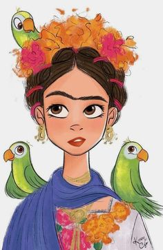 Frida Kahlo and the parrots Character Art, Character Design, Kahlo Paintings, Timberwolf, Frida Art, Posca Art, Mexico Art, Art Graphique, Easy Drawings