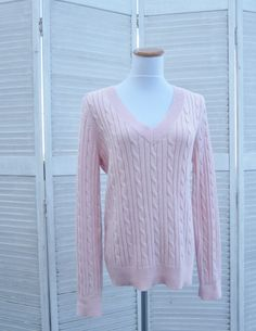 Vintage Pink V Neck Sweater Cotton Cable Knit by MarjoriesMemories, $34.00