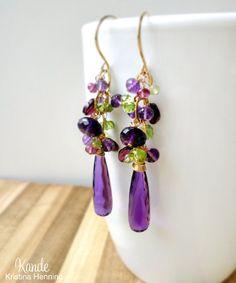 Amethyst Chandelier Earrings Purple Green Peridot Garnet by Kande