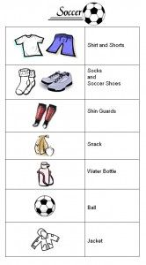 Printable Soccer List- to help kids have independence getting ready.