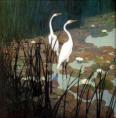 [LRS Art Medley] N.C. Wyeth, Egrets