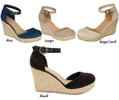 Womens Espadrille Faux Suede Sandal Wedge Ankle Strap Platform Bamboo  Tessa-01