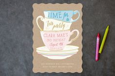 Littlest Tea Party Children's Birthday Party Invitations by Erin Niehenke at minted.com