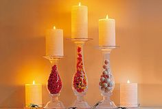Candles....Take a flower vase and fill it with whatever you want....Then Glue a small gass plate on the top!! Cute idea for any holiday or just to match your decor!