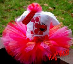 Custom Elmo Birthday tutu 612m 18m 2t 3t 4t 5t 6/6x by HugWear, $39.95