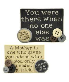 Friend & Mother Button Plaque Set #zulily #zulilyfinds