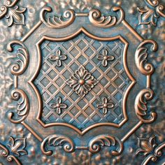 Copper Ceiling Tiles, Metal Embossing, Tin Tiles, Faux Painting, Ceiling Panels, Ceiling Medallions, Copper Color, Ceiling Design, Metal Art