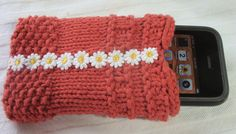 Hand knit iPHONE cell phone cover with lining Dusty by kittyallen, $12.00