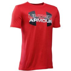 Under Armour Boys' Tech Big Logo Hybrid, Red/Black, Youth Large: UA Tech fabric is quick-drying, ultra-soft & has a more natural feel. Ropa Under Armour, Under Armour Outfits, Swag Outfits Men, Mens Tights, Athletic Outfits, Short Sleeve Tee, Mens Fashion, Logos, Tees