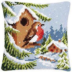 Heaven and Earth Designs Vervaco Winter Welcome Pillow Cover Needlepoint Kit Mini Cross Stitch, Beaded Cross Stitch, Cross Stitch Borders, Simple Cross Stitch, Cross Stitch Animals, Cross Stitch Designs, Cross Stitch Embroidery, Cross Stitch Patterns, Cross Stitch Cushion