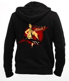 Bombshell Attack - Men Zip - Hoodie Sweatshirt ••• Sudadera Negra 37.50€ ✠ #LeviathanCo #tshirt #design #psychobilly #creative #create #clothes #vintage #diseño #lifestyle #rockNroll #pinup #rockabilly #hotrod #tattoos #motocicletas #bikers #camiseta #rider