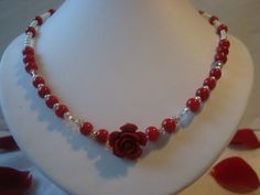 Necklace  Red Rose  Showoffjewels by showoffjewels on Etsy, £89.00