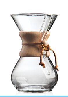 Six Cup Classic CHEMEX®CHEMEX® delivers the purest flavor experience  Made of non-porous Borosilicate glass which will not absorb odors or chemical residues CHEMEX pour-over allows coffee to be covered and refrigerated for reheating without losing flavor Simple, easy to use with timeless, elegant design