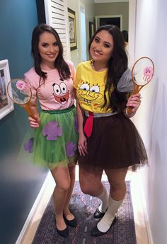 Funny Halloween Costumes for Teen Girls - Spongebob # . - Funny Halloween costumes for teen girls – Spongebob # Hallowe - Spongebob Halloween Costume, Two People Halloween Costumes, Original Halloween Costumes, Cute Costumes, Halloween Outfits, Spongebob And Patrick Costumes, Halloween Costumes For Teachers Easy, Best Friend Holloween Costumes, Costume Ideas For Friends