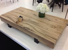 Coffee table made from oak beams. This is so versatile. #Horchow