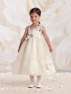 Joan Calabrese for Mon Cheri - 112301 - Sleeveless satin and tulle tea-length full A-line dress with jewel neckline, satin bodice accented with clusters of flowers, full dirndl double tiered tulle skirt features a matching cluster of flowers.Sizes:�2 - 16Colors: Oyster/Ivory, Rose/Ivory
