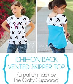 Chiffon Back-vented Skipper Top, sewn by the Crafty Cupboard. Love the bold pop of color on the back! So trendy and cute!