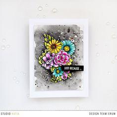 Studio Katia Floral Trimmings Stamp Set Watercoloured with Distres Inks | Erum Tasneem | @pr0digy0