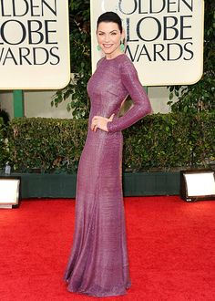 Love this! Juilianna Marguiles at the Golden Globes wore a dusty purple long-sleeve Naeem Khan gown, Lorraine Schwartz jewelry and Christian Louboutin heels.
