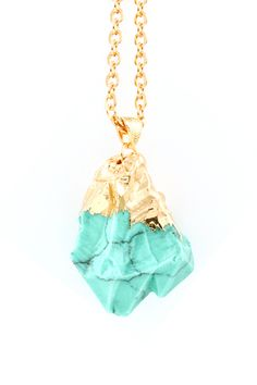 Gold Dipped Raw Turquoise Pendant & Necklace organic