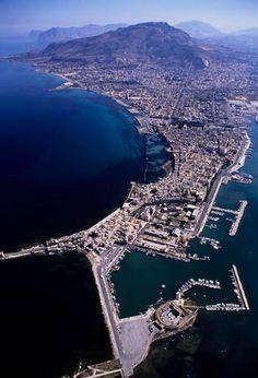 Veduta aerea di Trapani, Sicilia.