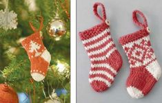 Knitted Mini Christmas Stockings Free Pattern from St Christopher's. Fairisle and intarsia Christmas stockings that are kit flat. Free Pattern More Patterns Like This! Christmas Stocking Images, Knit Christmas Ornaments, Mini Christmas Stockings, Mini Stockings, Christmas Stocking Pattern, Christmas Embroidery Patterns, Christmas Knitting Patterns, Baby Knitting Patterns, Free Knitting