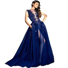 Sexy Royal Blue Long Evening Dresses Sheer Neck Sleeveless Sequins Beaded Court Train Celebrity Dress Longo De Festa