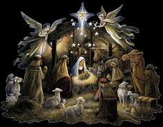Religious Christmas cards feature the Nativity Scene holiday cards by THE OFFICE GAL Religious Christmas Cards, Christmas Nativity Scene, Nativity Scenes, Christmas Manger, The Nativity, Nativity Scene Pictures, Christmas Jesus, Christmas Scenes, Gif Noel