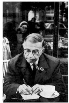 Sartre philosophizing over a cup of coffee