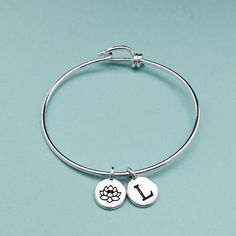 Hey, I found this really awesome Etsy listing at https://www.etsy.com/listing/462006560/flower-charm-bangle-flower-charm