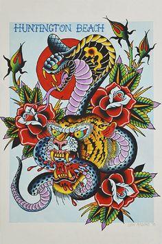 Cobra & Tiger by Josh Persons Old School Color Tattoo Fine Art Print