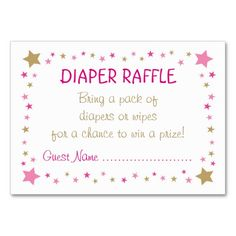 Twinkle Twinkle Little Star Diaper Raffle Ticket Card  Raffle