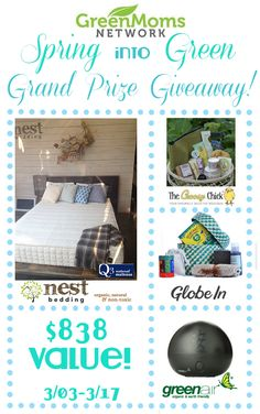 Spring into Green Grand Prize! Sponsored by @nestbedding, @thechoosychick, Globe In and Greenair! Over $838 value!
