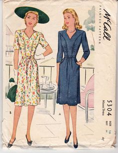 40s Vintage Sewing Pattern McCall 5304