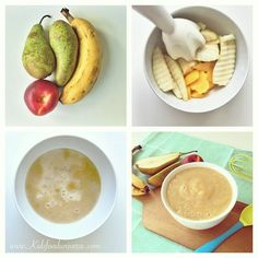 Pear, banana & nectarine baby puree - fruit puree suitable from 6 months . , Pear, banana and nectarine baby puree - fruit puree suitable from 6 months , Baby Food Recipes 6 9, Healthy Baby Food, Baby Puree Recipes, Pureed Food Recipes, Cooking Recipes, Food Baby, Toddler Meals, Kids Meals, Baby Fruit