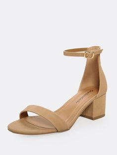d557e9c3e6b Casual Ankle strap Nude Mid Heel Chunky Open Toe Low Block Heel Sandals