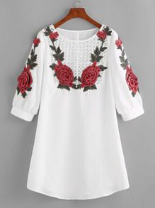 Crochet Yoke Rose Applique Lantern Sleeve Dress