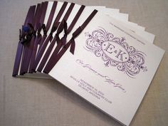 Square Wedding Programs with Satin Ribbon by theoriginalpear, $1.75