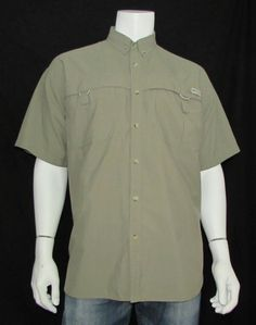 Columbia PFG Fishing Shirt Short Sleeve Vented Button Down Collar sz Large #Columbia #ButtonFront