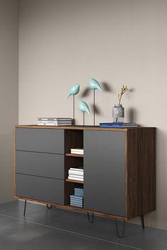 Sideboard Furniture, Home Decor Furniture, Furniture Makeover, Modern Furniture, Furniture Design, Credenza, Home Interior Design, Interior Decorating, Mid Century Modern Living Room