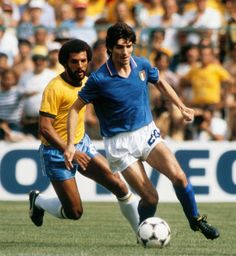 Italy's Paolo Rossi in World Cup action against Brazil in 1982