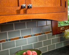 like the craftsman tile style.we could do something like our leaded glass design Culinary Craftsman - traditional - kitchen - other metro - Teakwood Builders, Inc. Kitchen Redo, Kitchen Styling, Kitchen Backsplash, Kitchen Ideas, Backsplash Ideas, Kitchen Photos, Tile Ideas, Kitchen Designs, Kitchen Stuff