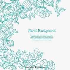 Sketchy fond floral Vecteur gratuit