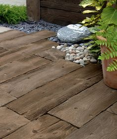 Traditional Garden Paving Slabs for Patios Cheap Wood Flooring, Diy Wood Floors, Diy Flooring, Flooring Ideas, Hardwood Floors, Wood Planks, Concrete Paving Slabs, Concrete Wood, Tile Wood