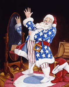 Wearing of The Colors by Joseph Holodook ~ patriotic Santa