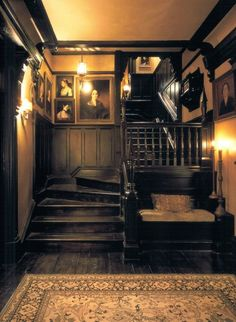 """19 Dark and Moody Interiors For the film """"Practical Magic,"""" the decidedly A-list design duo Roman and Williams built and decorated a Victorian-inspired home. Practical Magic House, This Old House, Witch House, Spooky House, Witch Cottage, Gothic Home Decor, Modern Victorian Decor, Gothic Interior, Black Interior Design"""